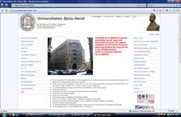 Site-ul Universității Spiru Haret. Primele informații: Universitate acreditată și parte a sistemului național de învățământ.