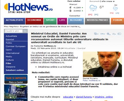 Intâlnirea online cu ministru Daniel Funeriu  pe HotNews