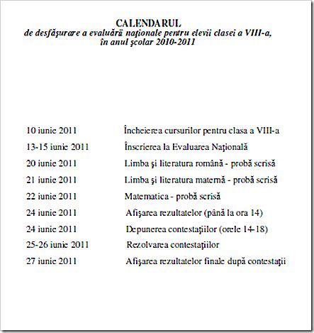 Calendar evaluare