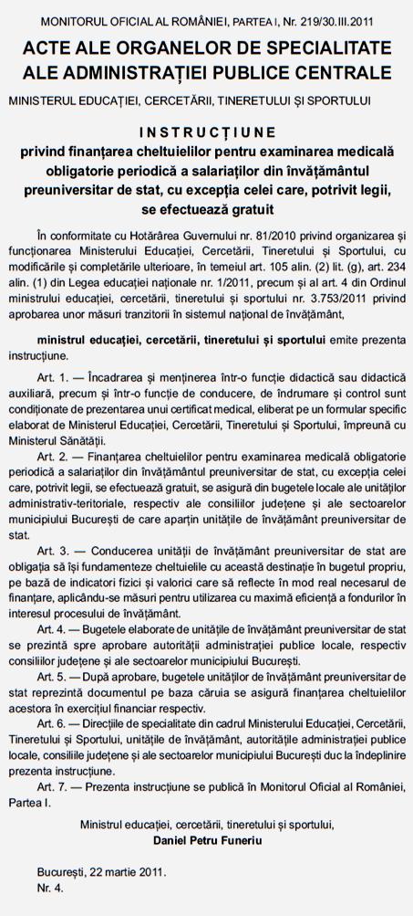 INSTRUCȚIUNE MINISTRU CHELTUIELI MEDICALE