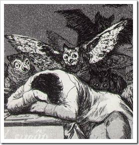 "Goya ""Somnul rațiunii naște monștri"""
